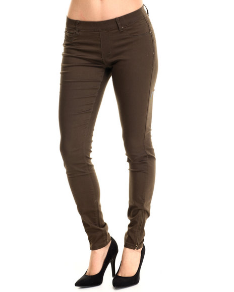 Basic Essentials - Women Brown Miracle Stretch Pull-On Twill Pant W/Ankle Zipper