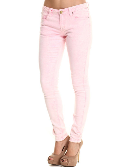 Basic Essentials - Women Light Pink Acid Washed Skinny Jean