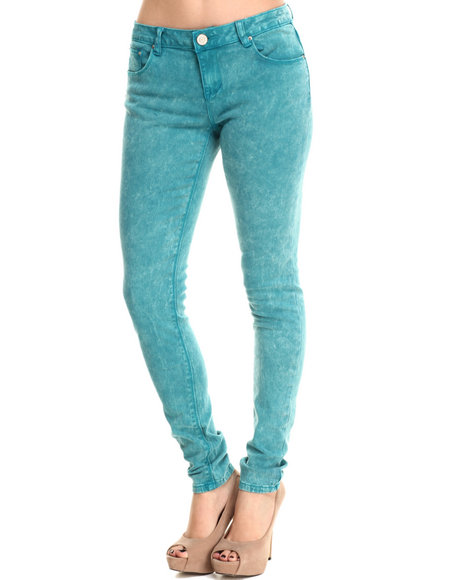 Basic Essentials - Women Teal Acid Washed Skinny Jean