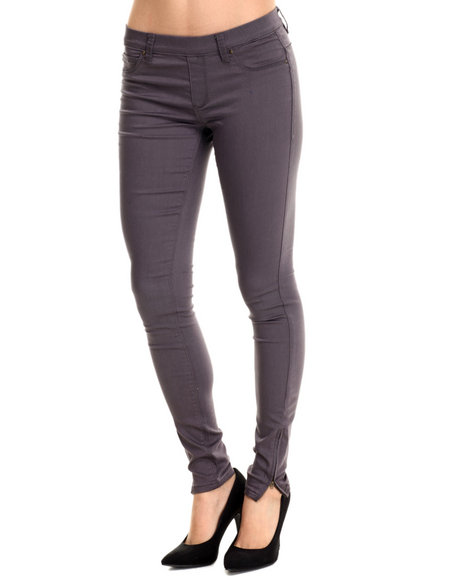 Basic Essentials - Women Purple Miracle Stretch Pull-On Twill Pant W/Ankle Zipper