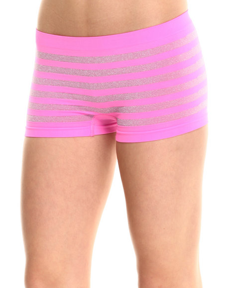 Baby Phat - Women Pink Sparkle Stripe Seamless Boy Short