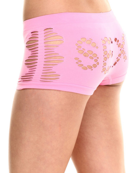 Baby Phat - Women Pink Sexy Cutout Seamless Boy Short
