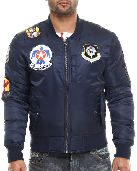 Ur-ID 213950 Kilogram - Men Navy K G Thunderbirds Nylon Flight Jacket