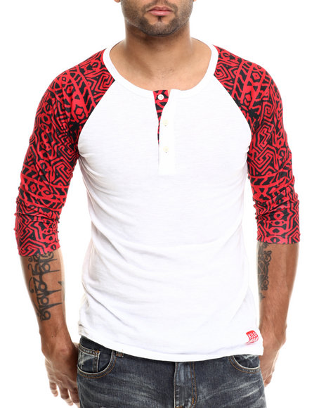 Kilogram - Men Red K G Native - Print Buttoned Raglan
