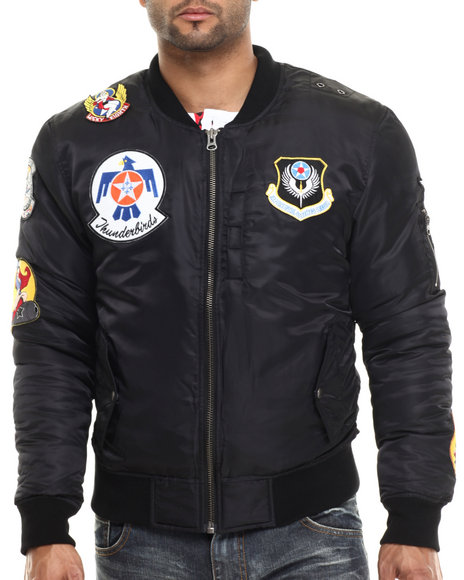 Ur-ID 213974 Kilogram - Men Black K G Thunderbirds Nylon Flight Jacket