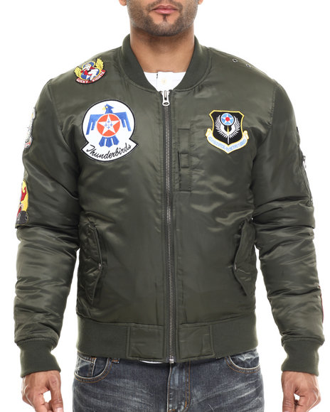 Ur-ID 213976 Kilogram - Men Olive K G Thunderbirds Nylon Flight Jacket