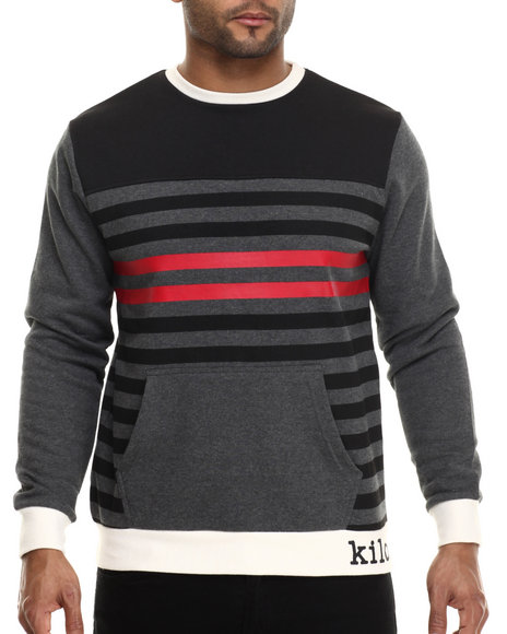 Kilogram - Men Charcoal Contrast Multi - Stripe Crewneck Sweatshirt