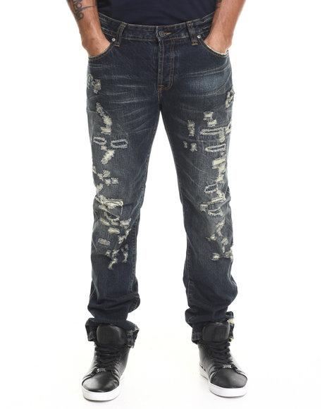 Kilogram - Men Dark Wash Muscle Rip & Repair Denim Jeans