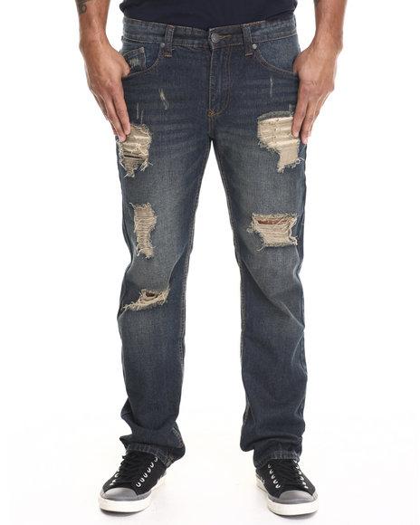 Enyce - Men Dark Wash Distressed Denim Jeans