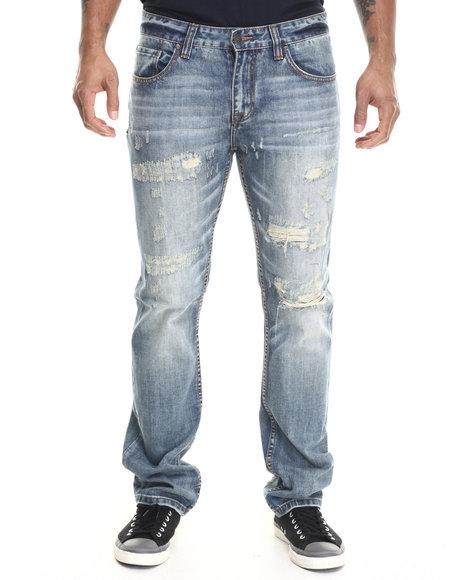Kilogram - Men Light Wash Rental Rip & Repair Denim Jeans