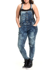 Jumpsuits - STRIPED SUSPENDERS DENIM OVERALLS (PLUS)