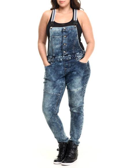 Basic Essentials - Women Dark Wash Striped Suspenders Denim Overalls (Plus)