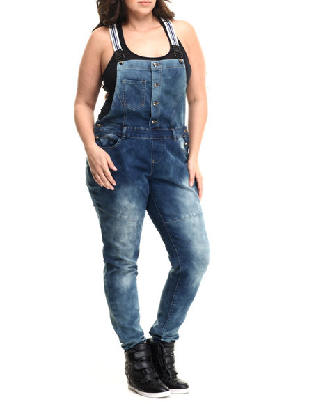 Basic Essentials - Women Blue Striped Suspenders Denim Overalls (Plus)