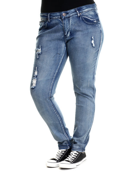 Fashion Lab - Women Medium Wash 5 Pocket Jean  (Plus Size)