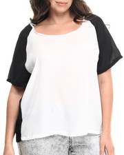 Short-Sleeve - Chiffon Color Block Top (Plus)
