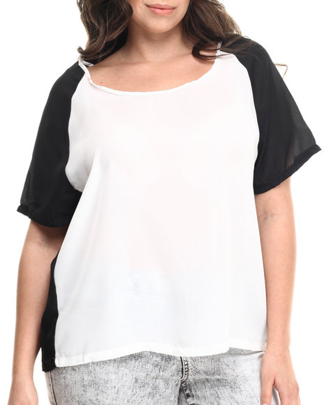 Ali & Kris - Women Black,White Chiffon Color Block Top (Plus)
