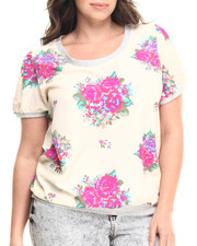Fashion Tops - Chiffon Banded Floral Top (Top)