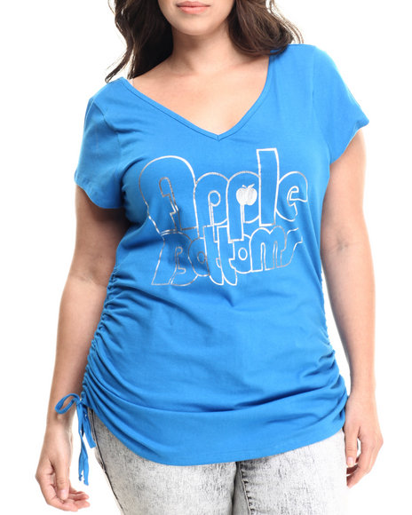 Apple Bottoms - Women Blue V-Neck Logo Tee W/ Cinched Sides (Plus)