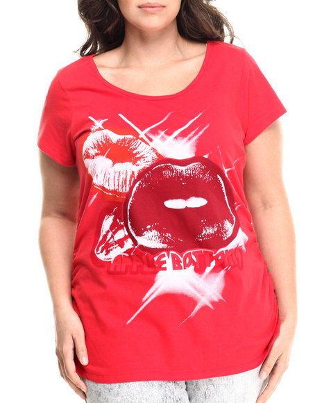 Ur-ID 214008 Apple Bottoms - Women Red Large Lips Scoop Neck Tee (Plus)