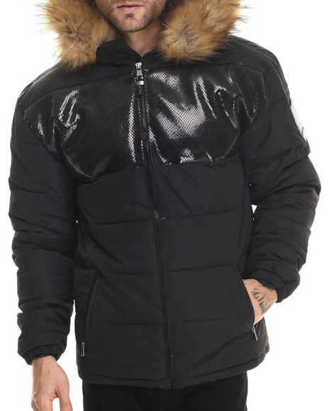 Pelle Pelle - Men Black Nylon Hoody Bubble Jacket W/ Embossed Snakeskin Print