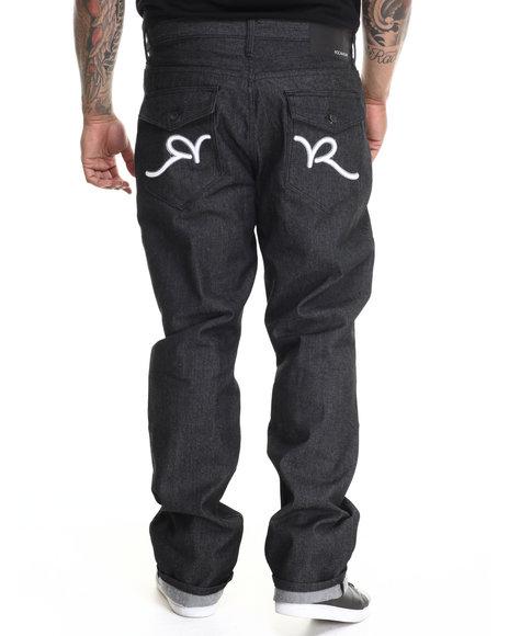 Rocawear - Men Black,White R Script Flap Jeans