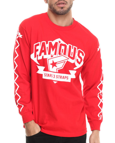 Famous Stars & Straps - Men Red Off Base  L/S Tee