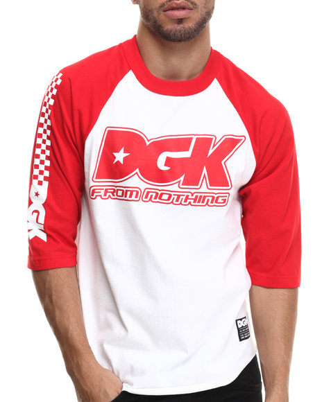 Dgk - Men Red,White Set Up 3/4 Raglan Tee