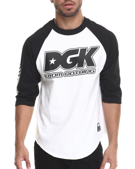 Dgk - Men Black,White Set Up 3/4 Raglan Tee