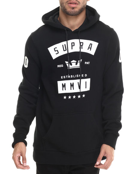 Supra - Men Black Banner Pullover Fleece Hoodie