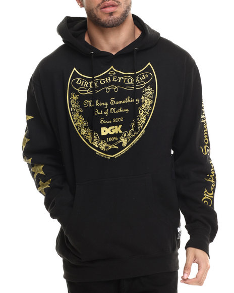 Dgk - Men Black Bottle Service Fleece Pullover Hoodie