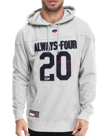 Dgk - Men Grey Always Four-20 Fleece Pullover Hoodie