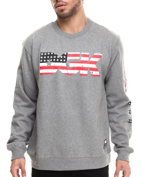 Ur-ID 214081 DGK - Men Grey American Nightmare Crew Fleece Sweatshirt