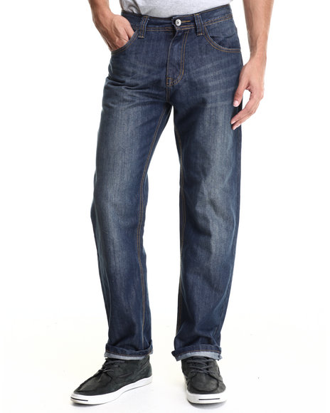 Buyers Picks - Men Dark Wash Dark Indigo Hand Embossed Back Pocket Denim Jeans