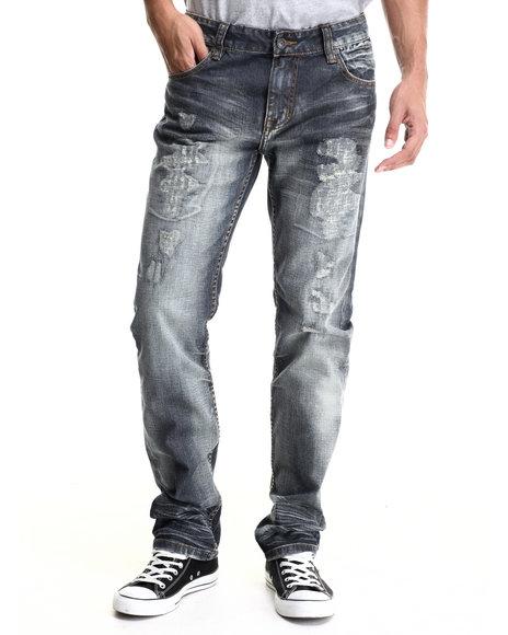 Kilogram - Men Dark Wash Fossil Rip & Repair Denim Jeans