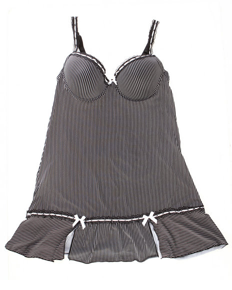 Drj Lingerie Shoppe - Women Black,White Pinstripe Chemise Microfiber Set W/Lace Trim (Plus)