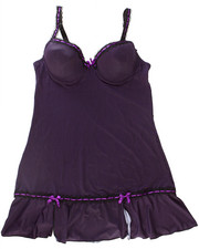 Sets - Pinstripe Chemise Microfiber Set w/Lace Trim (Plus)