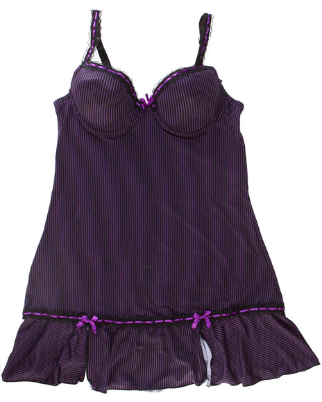 Drj Lingerie Shoppe - Women Black,Purple Pinstripe Chemise Microfiber Set W/Lace Trim (Plus)