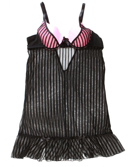 Drj Lingerie Shoppe - Women Black,Light Pink Sexy Stripe Mesh Set W/ Satin Ribbon Trim (Plus)