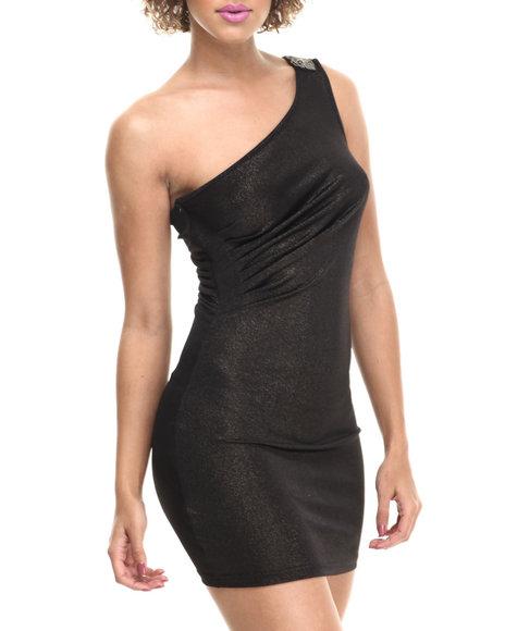 Fashion Lab - Women Bronze Jada Knitted One Shoulder Dress