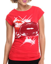 Women - Large Lips Scoop Neck Tee