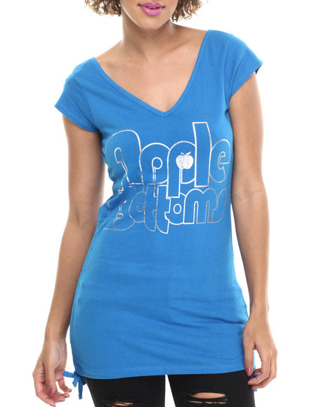 Ur-ID 214009 Apple Bottoms - Women Blue V-Neck Logo Tee W/ Cinched Sides