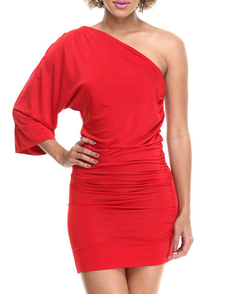Fashion Lab - Women Red One Shoulder Dress