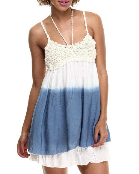Ur-ID 214110 Fashion Lab - Women White Sheena Woven Crochet Dress