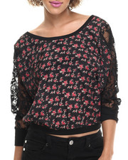 Fashion Tops - Lilly Woven Chiffon Top w/ Shoulder Trim