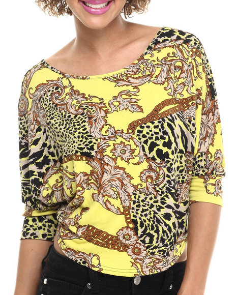 Ur-ID 214129 Fashion Lab - Women Yellow Adriana Knitted Top With Print