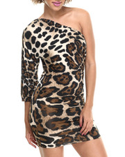 Women - Ladies' Knitted Leopard Print Dress