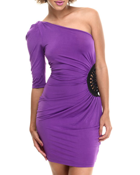 Ur-ID 214134 Fashion Lab - Women Purple Carrie Knitted One Shoulder Dress