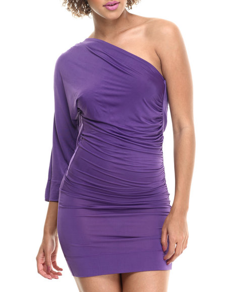 Ur-ID 214135 Fashion Lab - Women Purple One Shoulder Dress