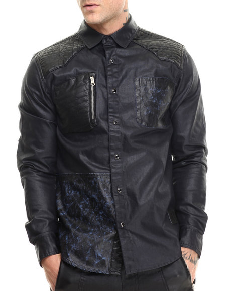 Allston Outfitter - Men Navy Wax Denim L/S Button-Down