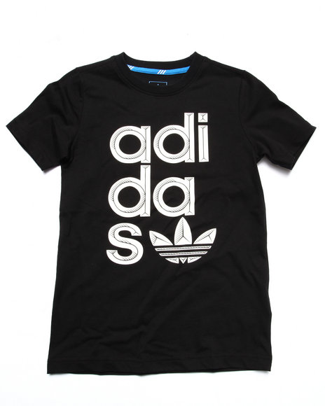 Adidas - Boys Black Wrap Logo Tee (8-20) - $25.00